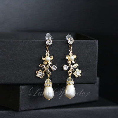 Sabine Garden Gold Pearl Bridal Earrings