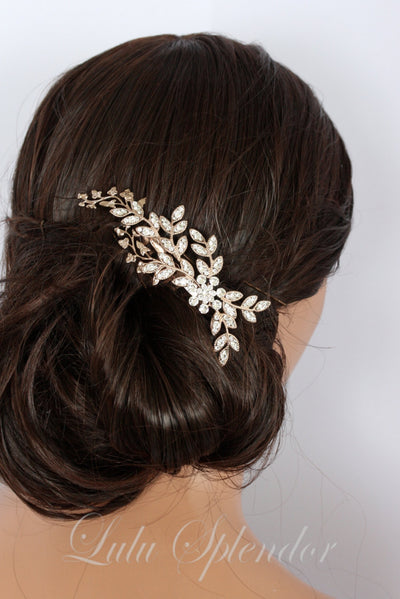 Neve Rose Gold Bridal Comb - Lulu Splendor