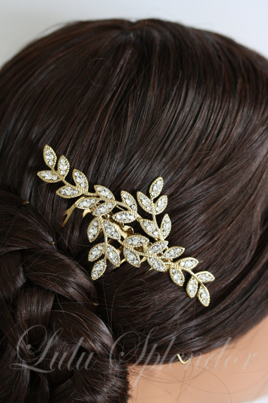 Neve Classic Gold Crystal Bridal Hair Comb - Lulu Splendor