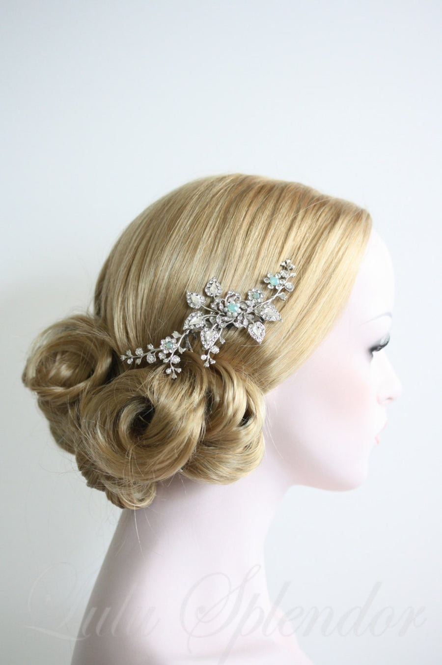 Harlow Blue Vine Wedding Comb - Lulu Splendor