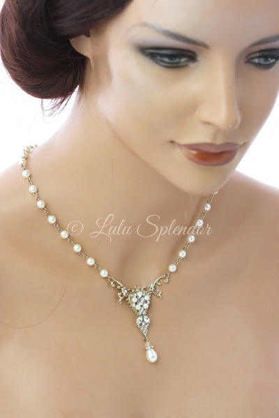 Paris Classic Art Deco Wedding Necklace - Lulu Splendor