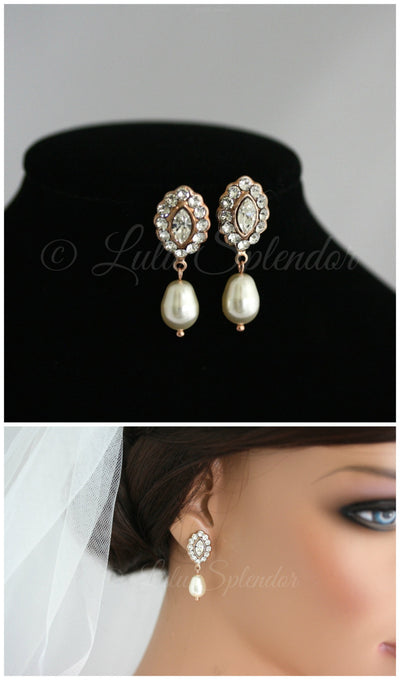 Mae Rose Gold Bridal Earrings - Lulu Splendor