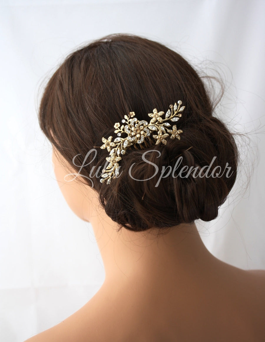 Sabine 2 Goldern Shadow Bridal Hair Comb - Lulu Splendor