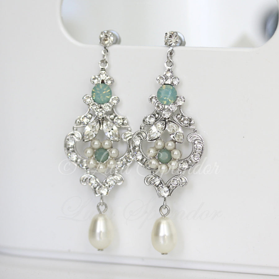 Amy Art Deco Blue Bridal Earrings - Lulu Splendor
