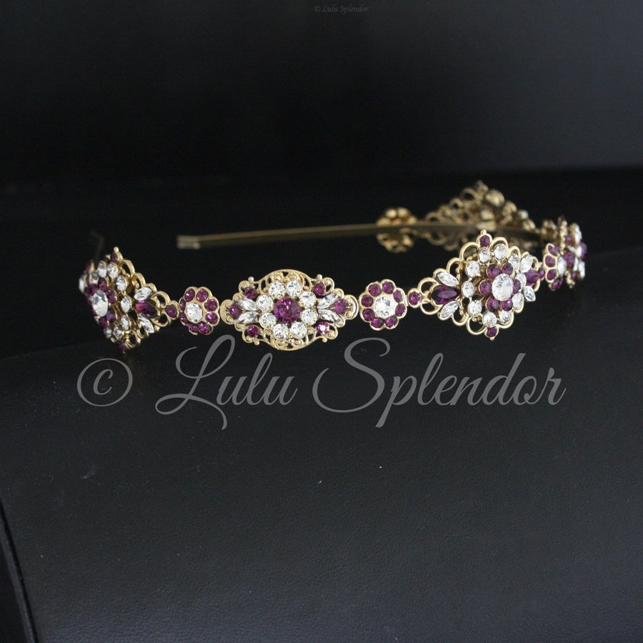 Cara Amethyst Crystal Wedding Headband - Lulu Splendor
