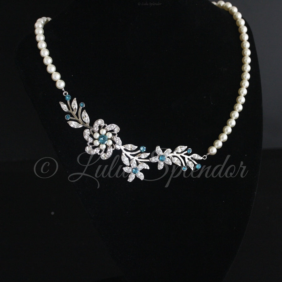 Sabine 2 Crystal Pearl Wedding Necklace