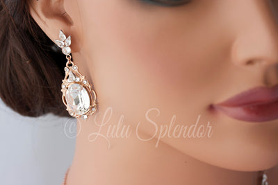 Ryan Rose Gold Crystal Wedding Earrings - Lulu Splendor