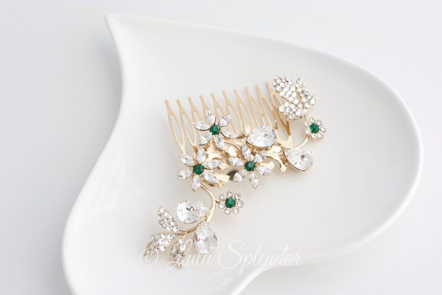 Aubury Crystal Bridal Hair Comb - Lulu Splendor