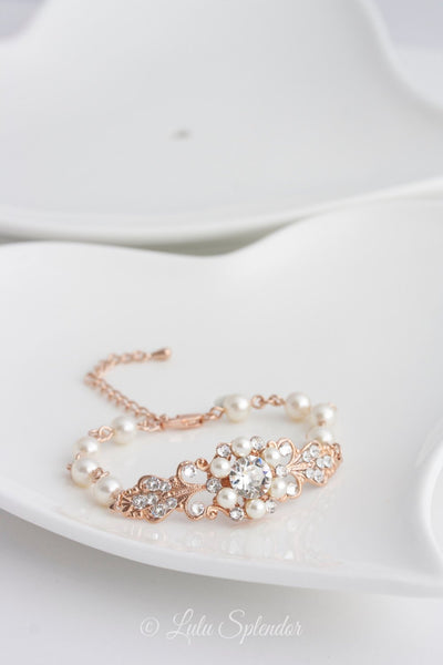 Paris Rose Gold Bridal Bracelet - Lulu Splendor