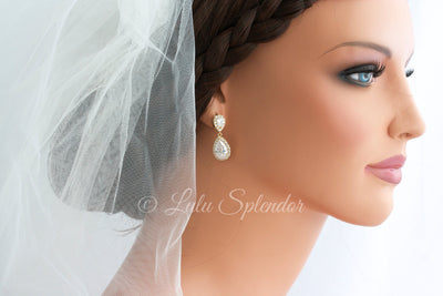 Poppy Crystal Teardrop Bridal Earrings - Lulu Splendor