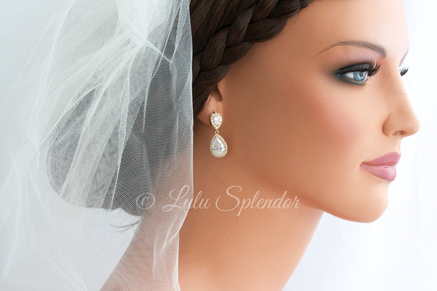 Poppy Crystal Teardrop Bridal Earrings