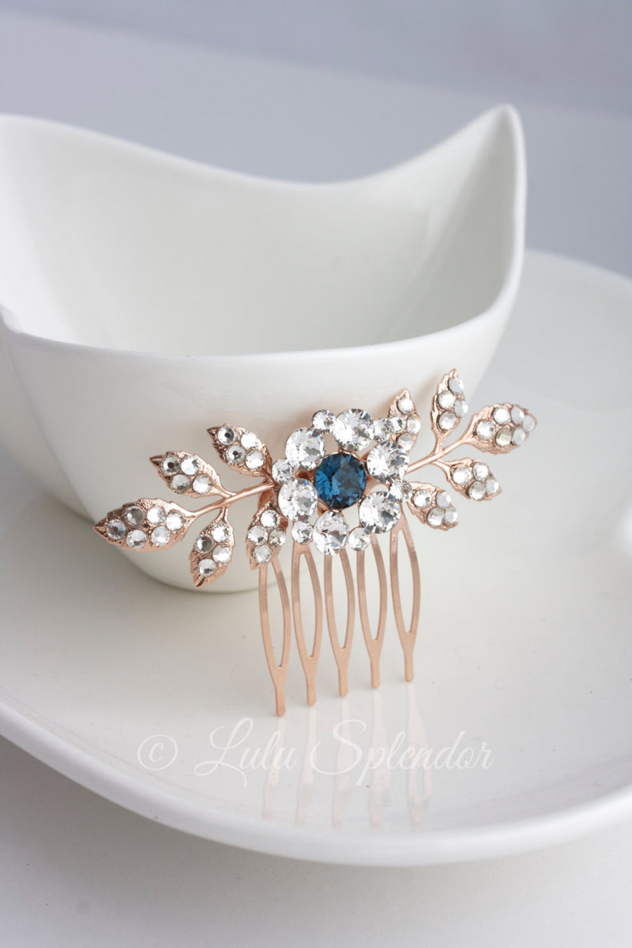 Macy Rose Gold Wedding Comb - Lulu Splendor