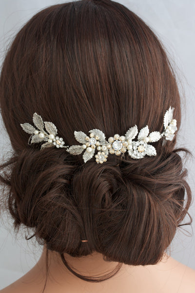 Stacey Silver Leaf Bridal Hair Comb