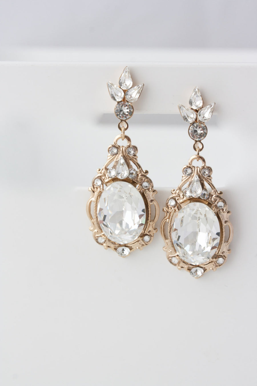 Ryan Rose Gold Crystal Wedding Earrings