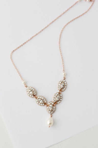 Mae Rose Gold Deluxe Bridal Necklace - Lulu Splendor