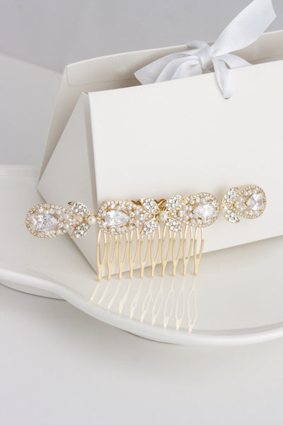 Vivienne Gold Veil Bridal Hair Comb