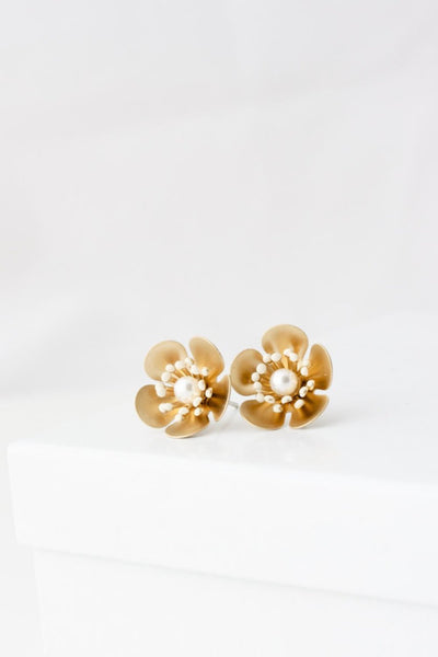 Petal Gold And Pearl Stud Earrings
