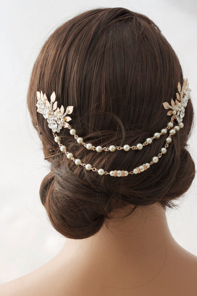 Anwen Bridal Headpiece Rose Gold