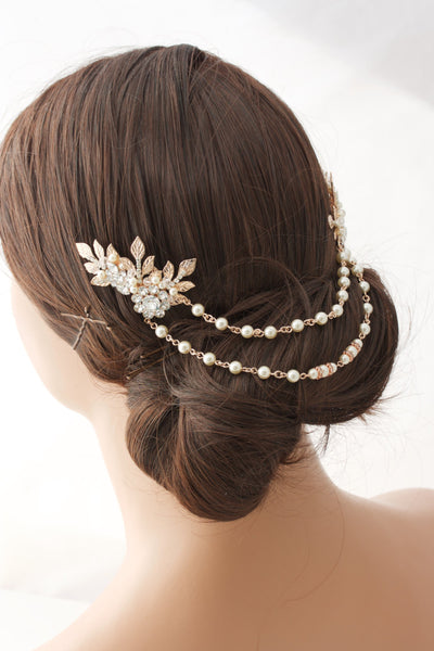 Anwen Bridal Headpiece Rose Gold - Lulu Splendor