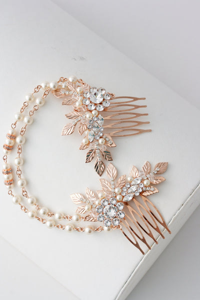 Anwen Rose Gold Bridal Headpiece - Lulu Splendor