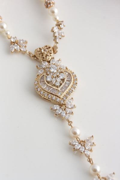 f334855cd Evie Gold Pearl Backdrop Wedding Necklace - Lulu Splendor