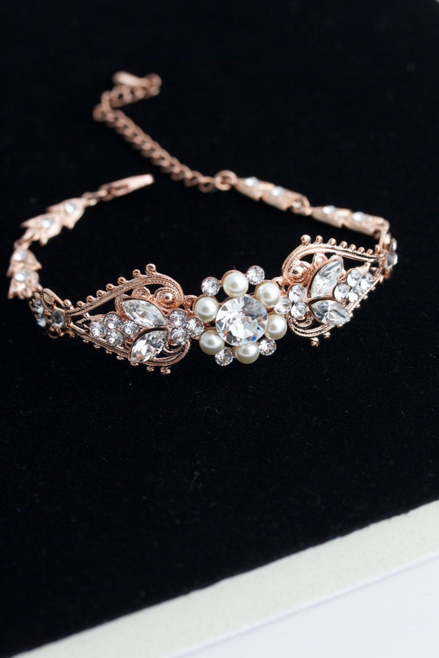 Paris Rose Gold Bridal Cuff Bracelet - Lulu Splendor