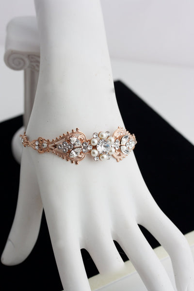 Wedding Bracelet Rose Gold Bridal Crystal Cuff Pearl Bracelet Bridal Jewelry Bridal Bracelet Wedding Bracelet PARIS CUFF BRACELET