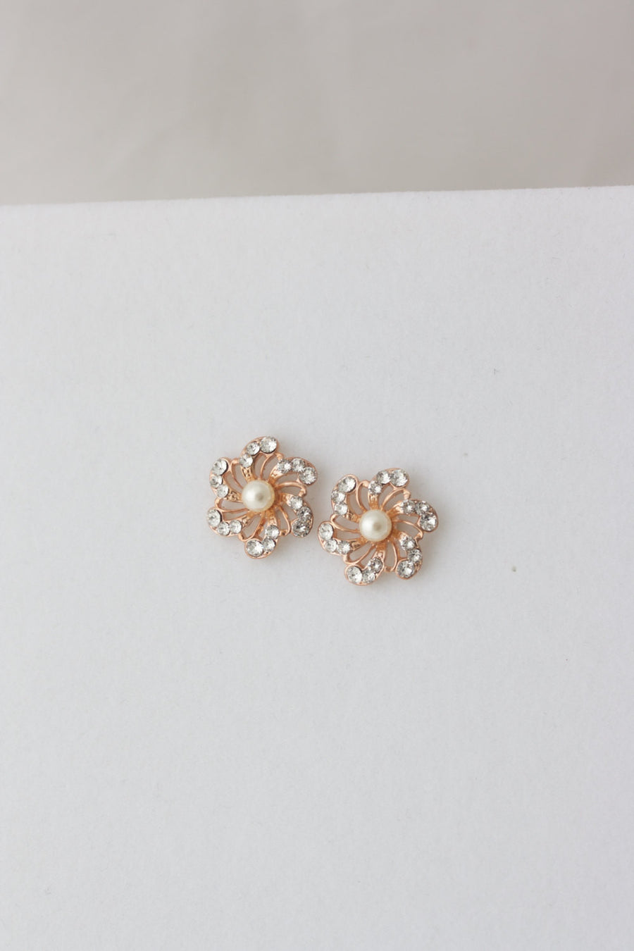 Sabine Crystal Pearl Stud Earrings