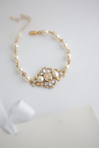 Leila Golden Shadow Wedding Bracelet - Lulu Splendor