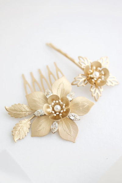 Alessia Gold Wedding Comb Set - Lulu Splendor