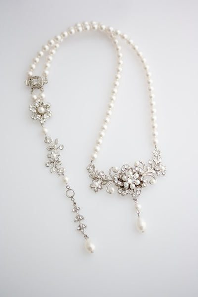 Sabine Twist Silver Backdrop Wedding Necklace