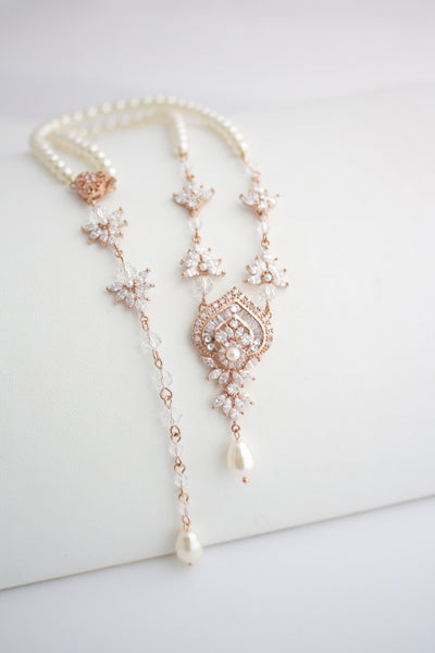 Evie Backdrop Wedding Necklace - Lulu Splendor