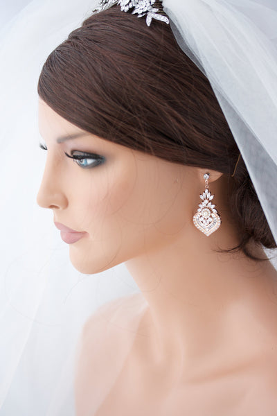 Evie Rose Gold Bridal Earring Drops - Lulu Splendor