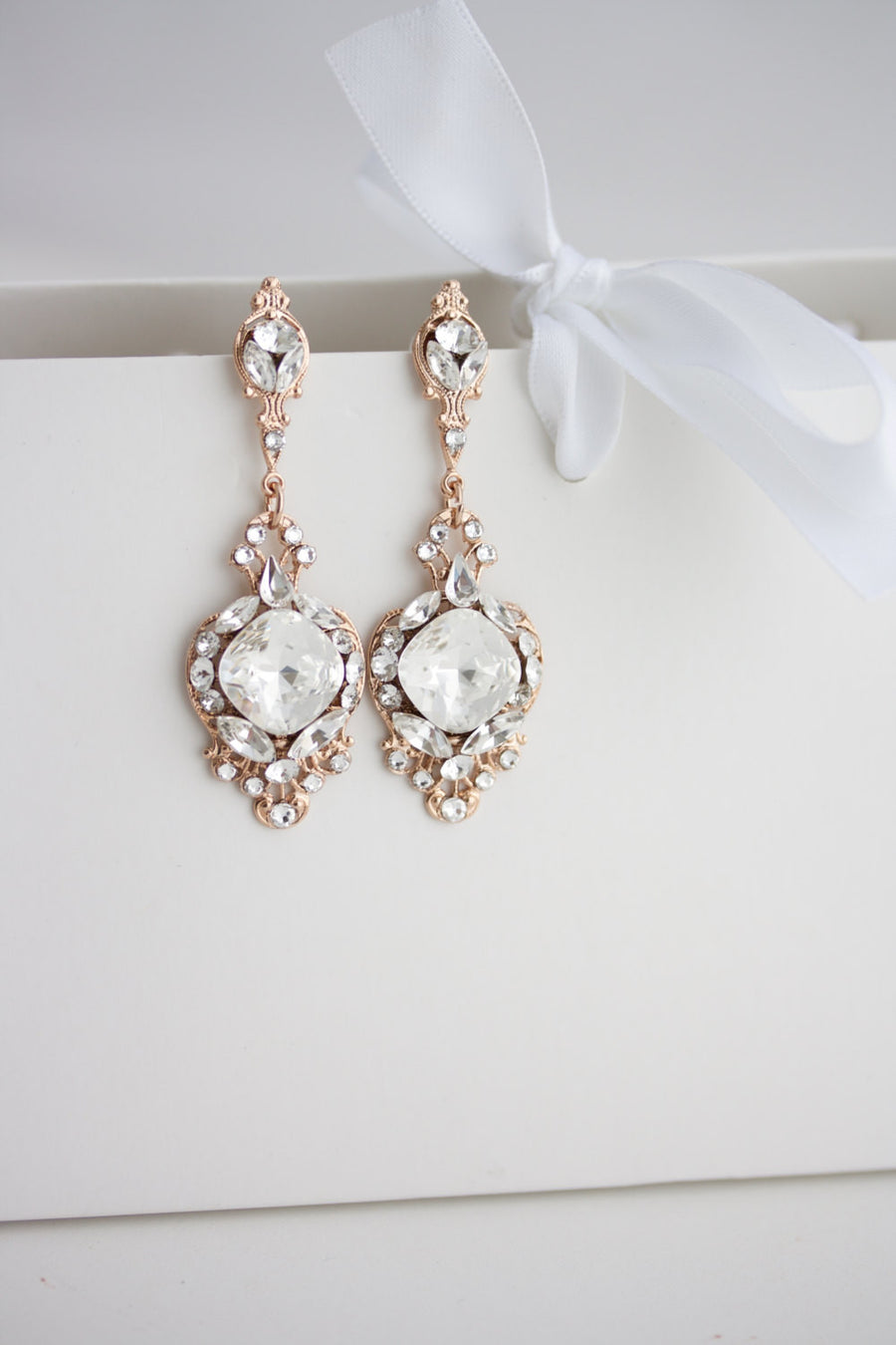 Estella Wedding Earrings Rose Gold - Lulu Splendor