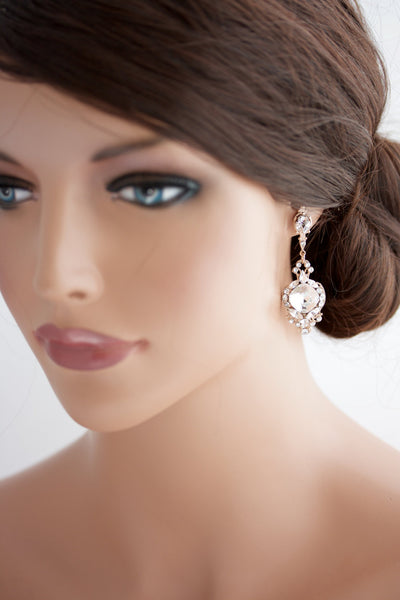 Estella Rose Gold Crystal Wedding Earrings - Lulu Splendor