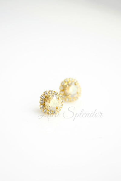 Z15 Golden Shadow Crystal Wedding Studs
