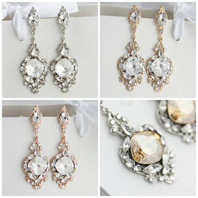 Estella Crystal Wedding Earrings - Lulu Splendor