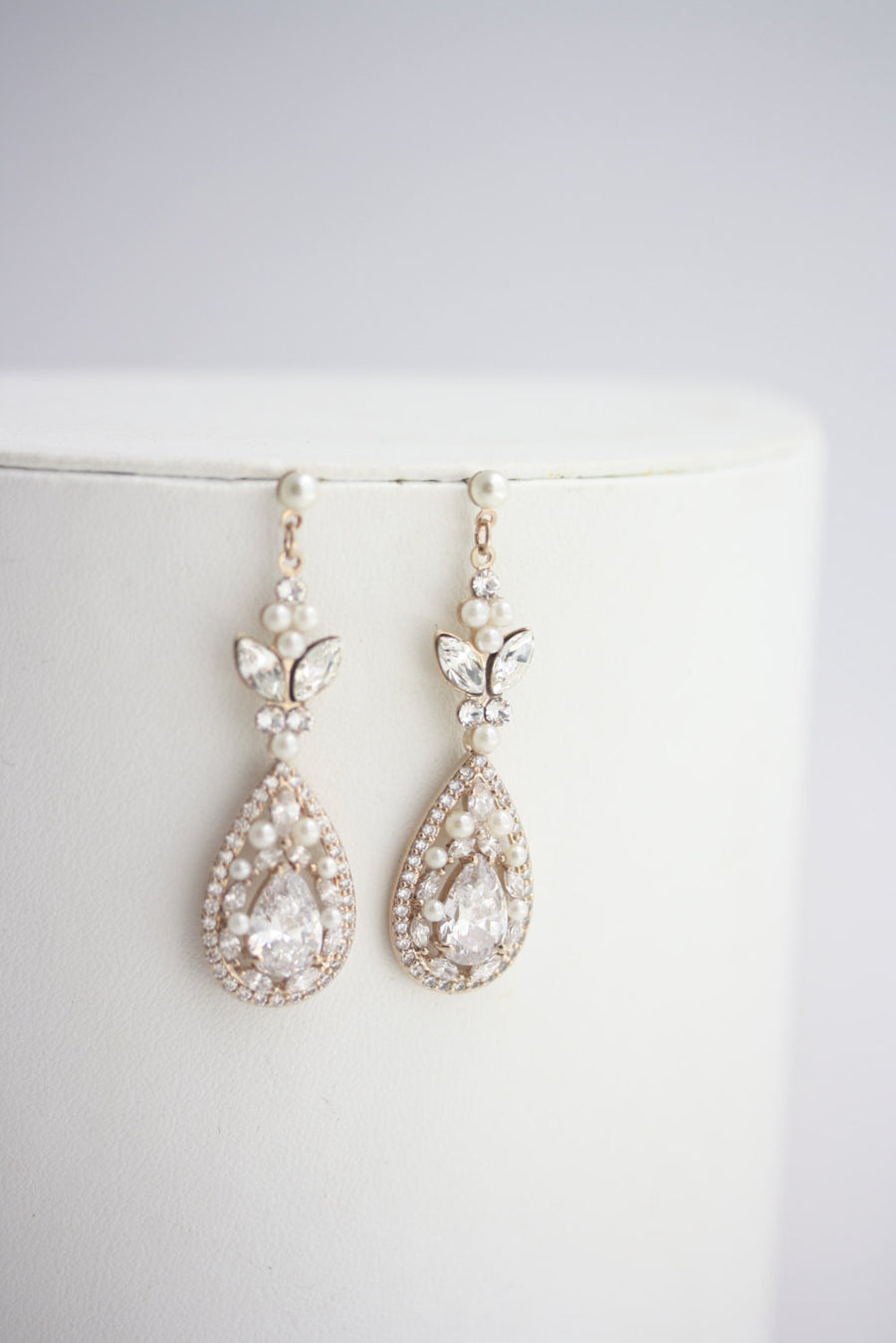 Vivienne Rose Gold Bridal Earrings