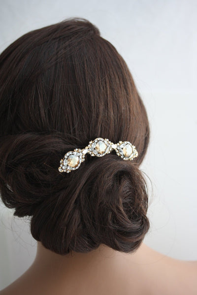 Estella Crystal Wedding Hair Comb - Lulu Splendor