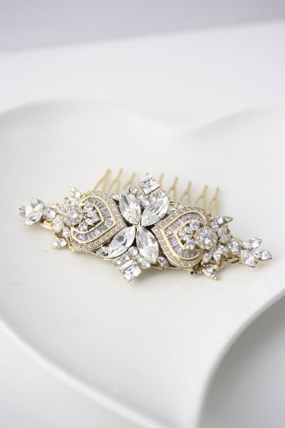 Evie Gold Bridal Hair Comb - Lulu Splendor
