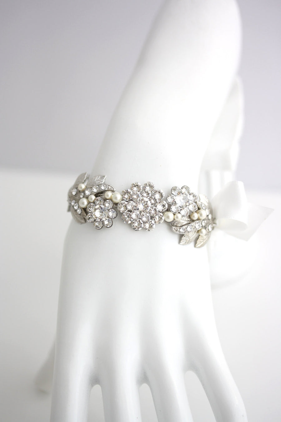 Mier Silver Ribbon Wedding Bracelet - Lulu Splendor