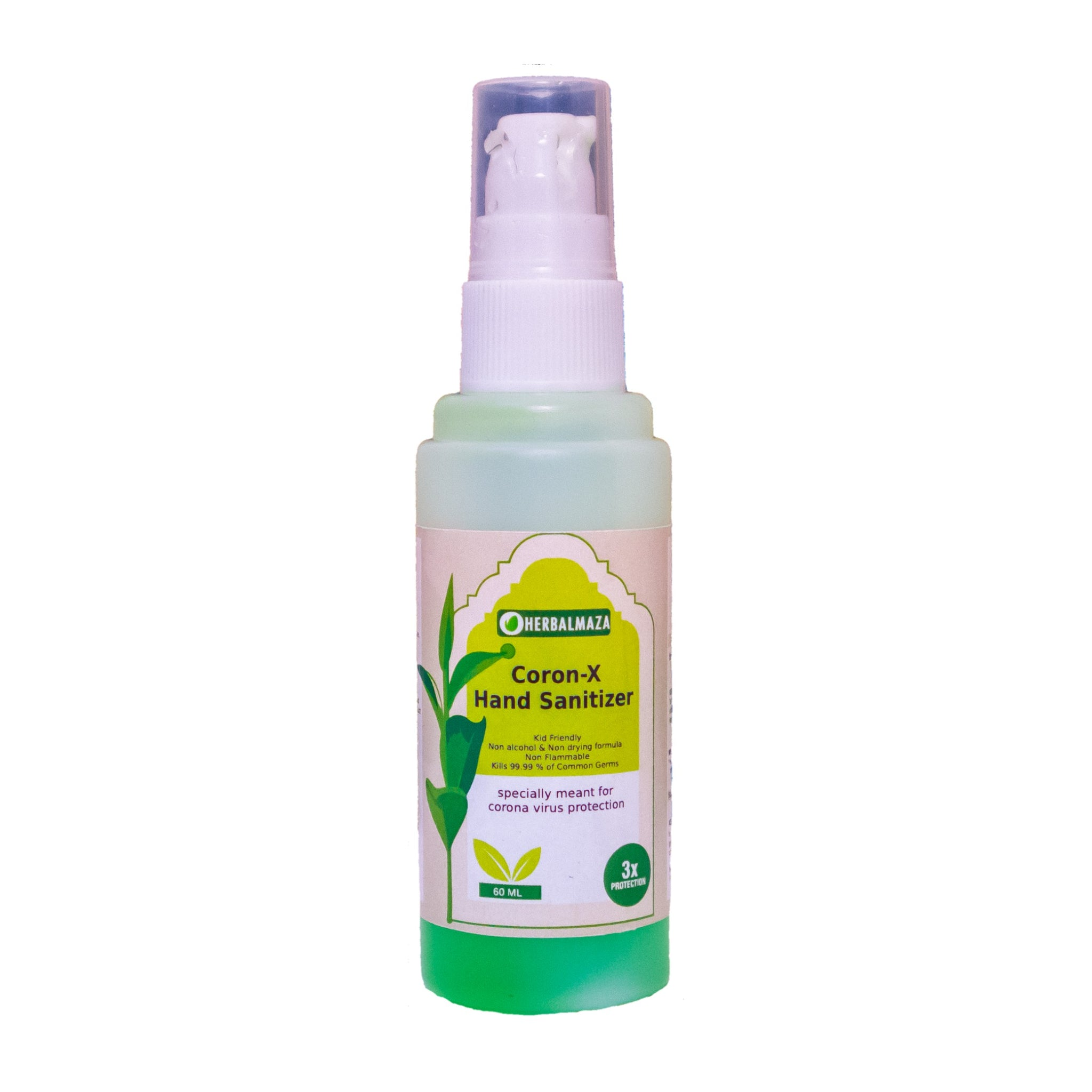 CORON-X Organic SafeHands Hand Sanitizer 60 ml With Vit E, Neem & Aloe Vera Extracts Pack of 3