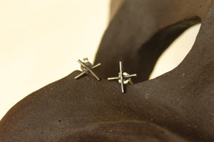 Oxidised Cross Studs