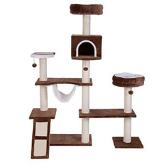 PAWMONA Multi-Level Cat Tree Tower with Sisal-Covered Scratching Posts, Plush Perches and Condo for Cats and Kittens 65""