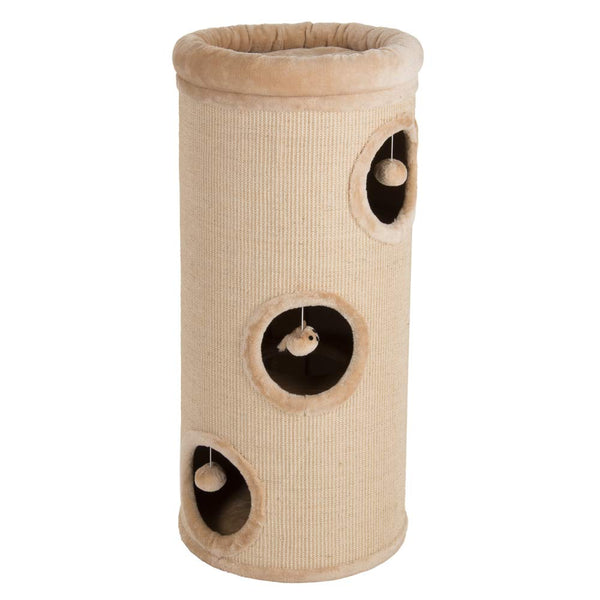 "PAWMONA 3 Story Cat Condo Tower 37"" - Natural Sisal-Covered Scratch Barrel with Top High Edge Snuggle Bed - Machine Washable"