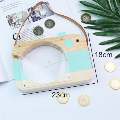 Nordic Style Wooden Money Boxes Cute Cartoon Camera Shape Transparent Piggy Bank Money Saving Box Kids Toy Coin Storage Box Cans