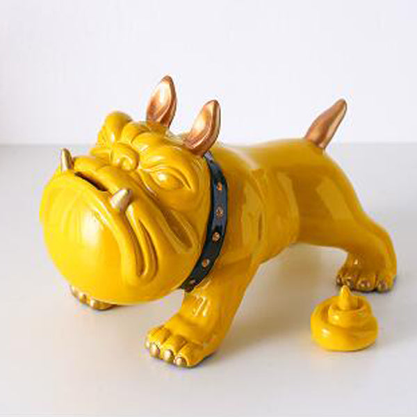 tirelire bulldog gris