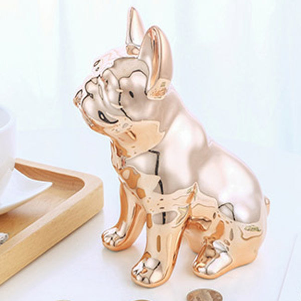 tirelire chien bouledogue or rose