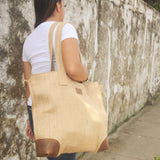 Burlap & Leather Carry-All Bag