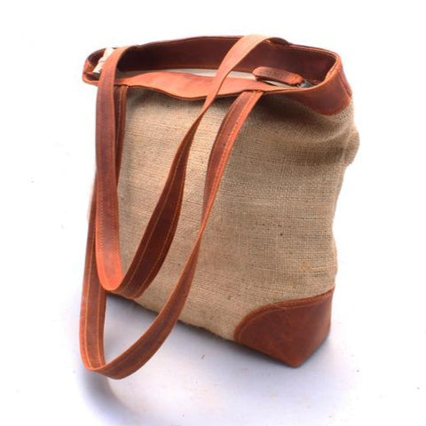 Burlap & Leather Shoulder Bag